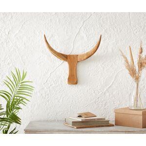 Gewei stierenkop 49x42 cm teak hout natuur uniek
