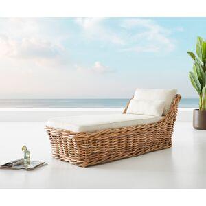 DELIFE Tuinstoel Nizza in natuurlijk rotan 90x180 cm kussen