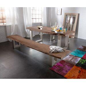 DELIFE Bankje Live-Edge 175x40 cm acacia bruin frame breed