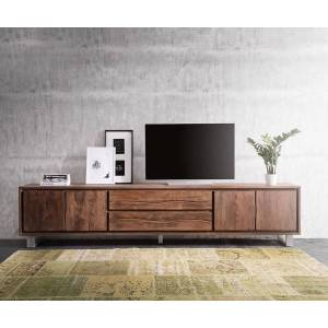 DELIFE TV-meubel Live-Edge 300 cm acacia bruin 4 deuren 2 laden
