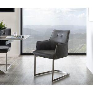 DELIFE Armleunstoel Yanis 59x60 cm grijs vintage roestvrij staal