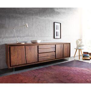 DELIFE TV-meubel Live-Edge 200 cm acacia bruin 4 deuren 2 laden met glaspoten