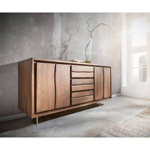 DELIFE Dressoir Live-Edge 147 cm acacia bruin 3 laden 2 deuren glazen pootjes