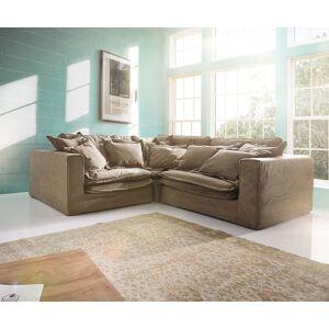 DELIFE Hoezen-bank Sharona 234x234 cm bruin met kussen hoekbank