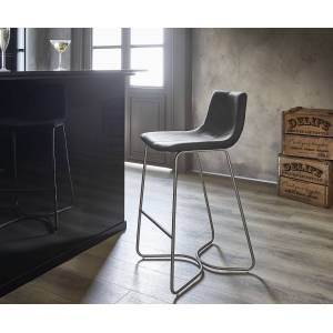 DELIFE Barstoel Ulrico antraciet vintage frame in roestvrij staal