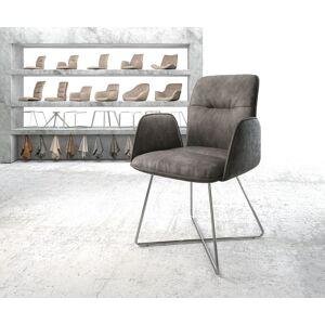 DELIFE Eetkamerstoel Vinja-Flex antraciet vintage suède-look X-frame roestvrij staal