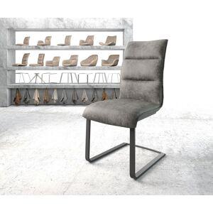 DELIFE Eetkamerstoel Xantus-Flex grijs vintage suède-look frame vlak zwart