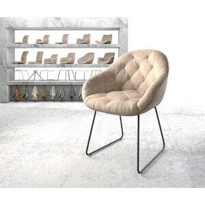 DELIFE Armleunstoel Gaio-Flex beige vintage slipframe zwart