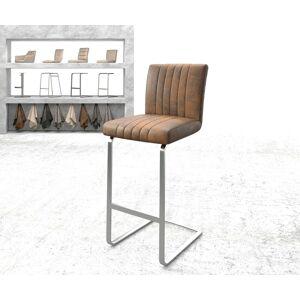 DELIFE Barstoel Luiga-Flex vintage bruin sledestoel vlak roestvrijstaal