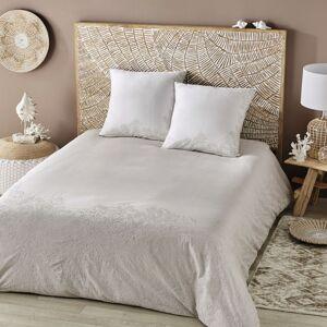 Maisons du Monde Bedlinnen in beige katoen met wit geborduurde motieven 240x260