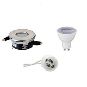 BES LED Voordeelset LED Spot Set - Aigi - GU10 Fitting - Waterdicht IP65 - Dimbaar - Inbouw Rond - Mat Chroom - 6W - Helder/Koud Wit 6400K - Ø82mm