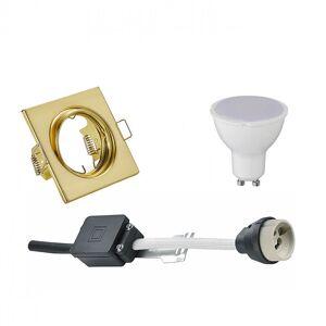 BES LED Voordeelset LED Spot Set - Trion - GU10 Fitting - Inbouw Vierkant - Mat Goud - 4W - Warm Wit 3000K - Kantelbaar 80mm