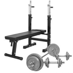 Gorilla Sports Verstelbare Halterbank Met 70 kg Halterset Gietijzer - Gorilla Sports