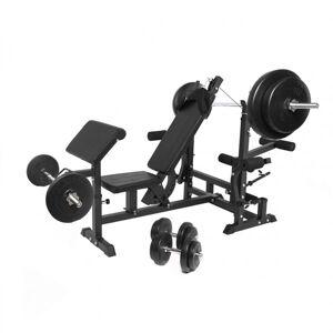 Gorilla Sports Universele Halterbank Met 100 kg Halterset Kunststof - Gorilla Sports