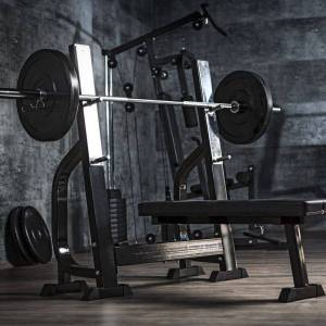Gorilla Sports Vlakke Halterbank Met 100 kg Halterset Kunststof - Gorilla Sports