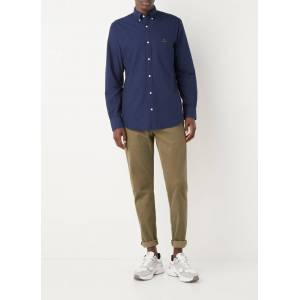 Gant Regular fit overhemd met logoborduring - Donkerblauw