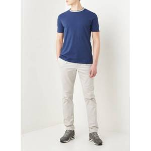Profuomo T-shirt met bies - Donkerblauw