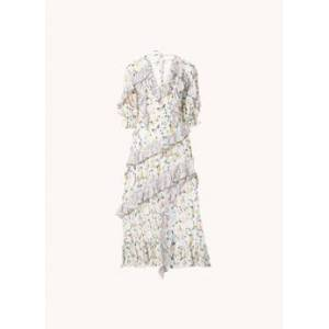 Ted Baker Scilly maxi jurk met bloemenprint en ruches - Wit