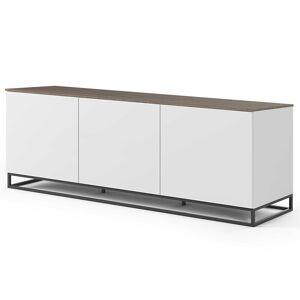 TemaHome Dressoir Join 180cm laag model met metalen onderstel en 3 deuren - mat wit/walnoot