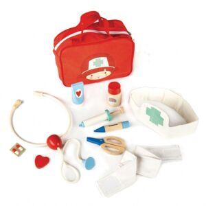 Tender Leaf Toys tas dokter en verpleger rood hout 12 delig