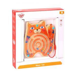 Tooky Toy doolhofspel junior 18,3 x 20 cm hout oranje 3 delig