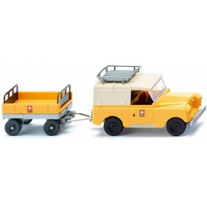 WIKING miniatuurauto Land Rover met aanhanger zink 1:87 geel