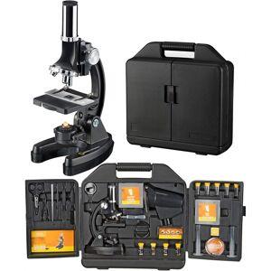 National Geographic microscoop met koffer 33 cm staal zwart 24 delig - Zwart