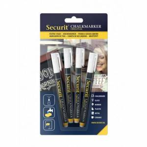 SECURIT Krijtbord Marker Wit Small 1-2mm 4 Stuks Wit