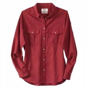 Fjällräven Dames blouse Övik Travel Shirt LS W, rood, Maat: XS