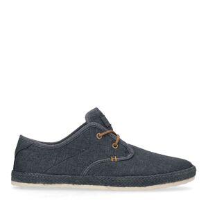 Manfield Blauwe sneakers met geweven touwzool  - blauw