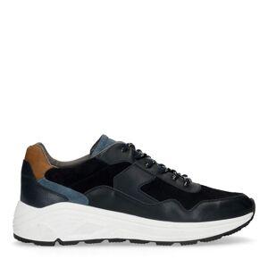 Manfield Blauwe sneakers met details  - blauw