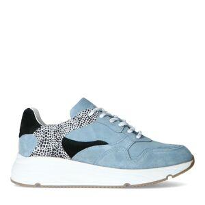 Manfield Blauwe suède sneakers met cheetahprint  - blauw