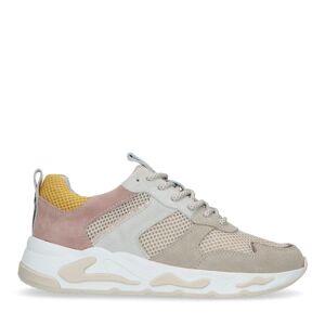 Manfield Multicolor suède dad sneakers  - beige
