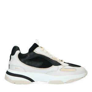 Manfield Beige leren sneakers met zwarte details  - beige