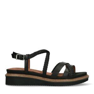 No Stress Zwarte leren sandalen met gevlochten bandjes  - zwart