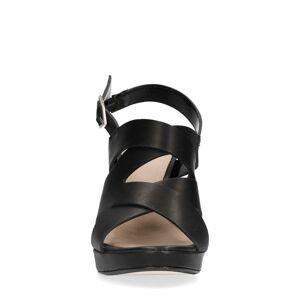 Manfield Zwarte leren sandalen met hak  - zwart