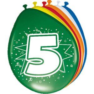 5 Jaar Ballonnen Meerkleurig - 8 stuks