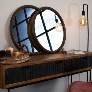 Dimehouse Spiegel industrieel rond set van 2 Luna hout 60 cm