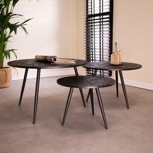 Dimehouse Ronde salontafel set van 3 Blackster zwart visgraat