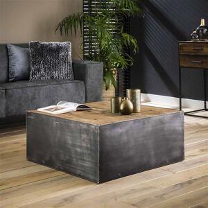 Dimehouse Industriële salontafel Crosby hout metaal vierkant