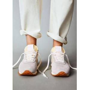 Gecombineerde leren sneakers  - Pastelgeel - Size: 36