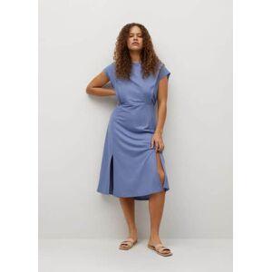 Violeta by Mango Soepelvallende jurk met splitten  - Blauw - Size: 4XL