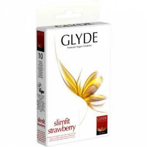 Glyde Premium Vegan Condooms Slimfit Strawberry - 10 stuks