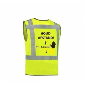 "Ducotex Veiligheidsvest 1.5mtr ""Houd afstand"" - Fluor geel   Grijs - One size  - Fluor geel   Grijs - Unisex"
