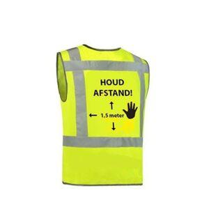 "Ducotex Veiligheidsvest 1.5mtr ""Houd afstand"" - Fluor geel   Grijs, One size  - Fluor geel   Grijs - Unisex"