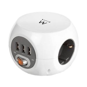 EWENT Stekkerdoos met 3 stopcontacten + 3 USB-A