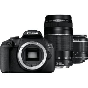 Canon Reflexcamera EOS 2000D + EF-S 18-55mm + 75-300 mm DC