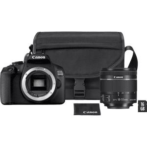 Canon Reflexcamera EOS 2000D + EF-S 18-55mm + SB130 Schoudertas + 16 GB SD kaart