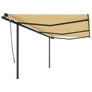 vidaXL Luifel automatisch uittrekbaar met palen 6x3 m geel en wit
