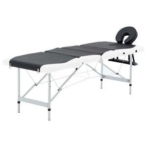 vidaXL Massagetafel inklapbaar 4 zones aluminium zwart en wit